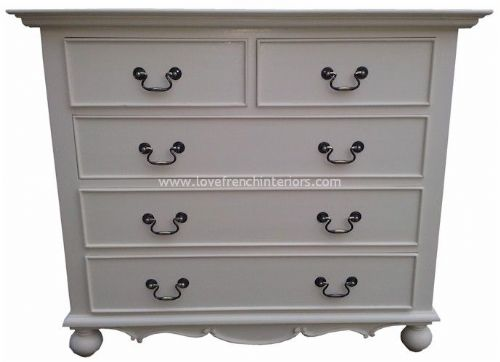 Rochelle Star 5 Drawer 120cm French Chest in your choice of colour